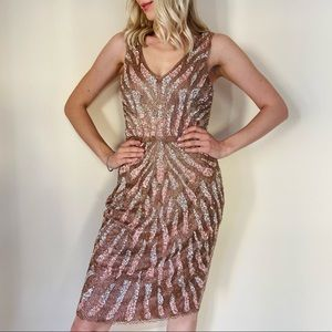 New Aidan Mattox Sequin Beaded Cocktail Dress $440